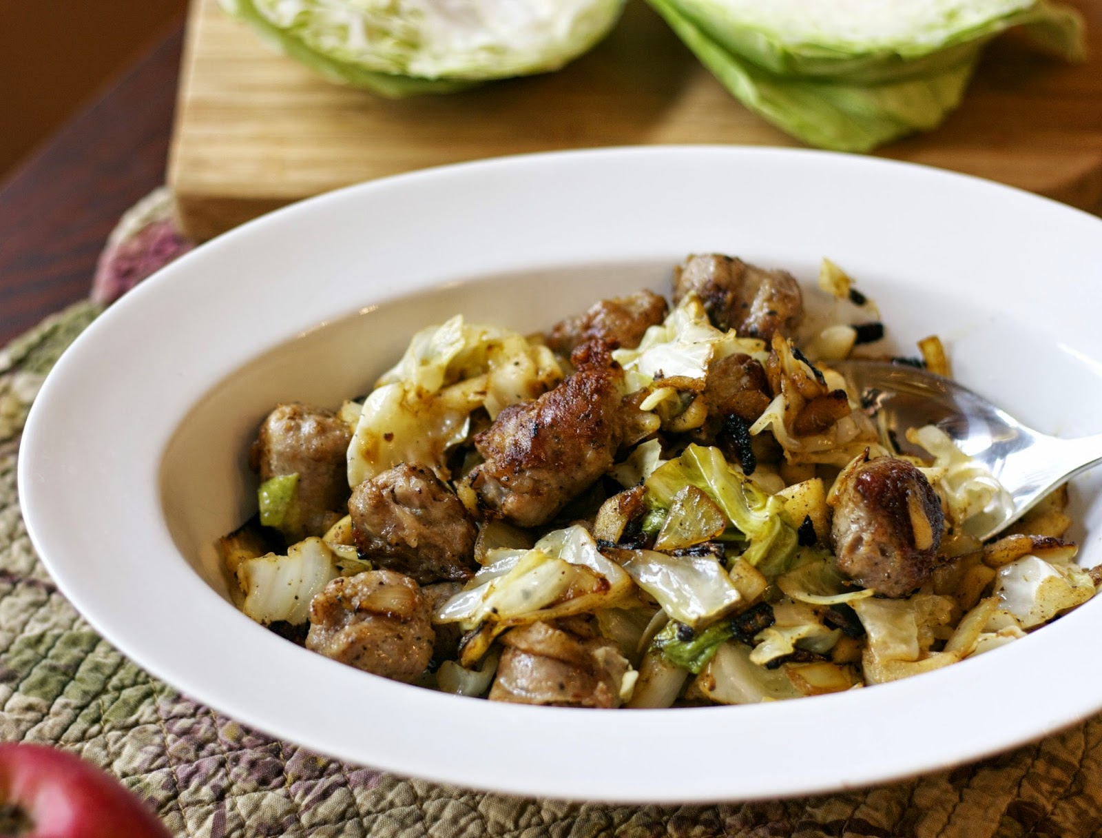 Sautéed Cabbage Apples & Sausage-simplelivingeating.com