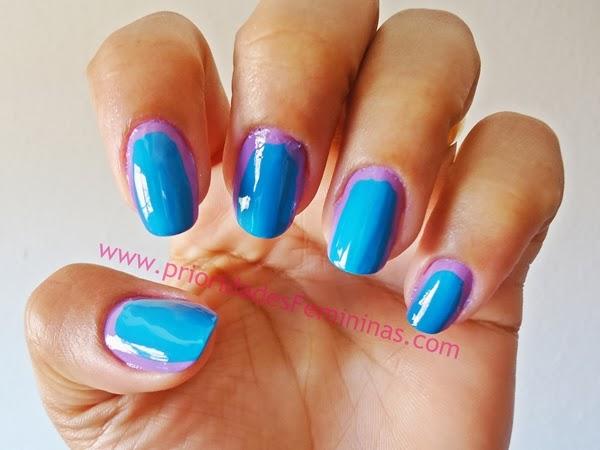 unha azul e lilás, nail art