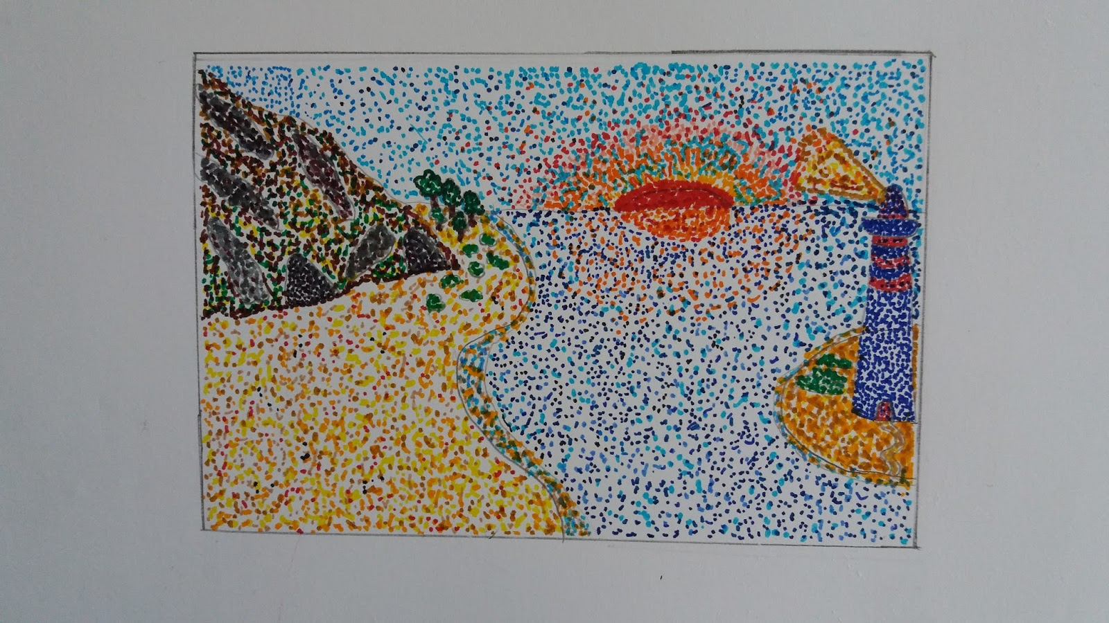 Due ore di arte fatti da voi paesaggi puntinisti lavori for Disegni paesaggi semplici