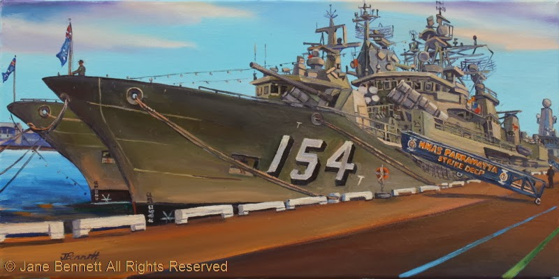 plein air oil painting by artist Jane Bennett of HMAS Perth and HMAS Parramatta at Barangaroo during International Fleet Review