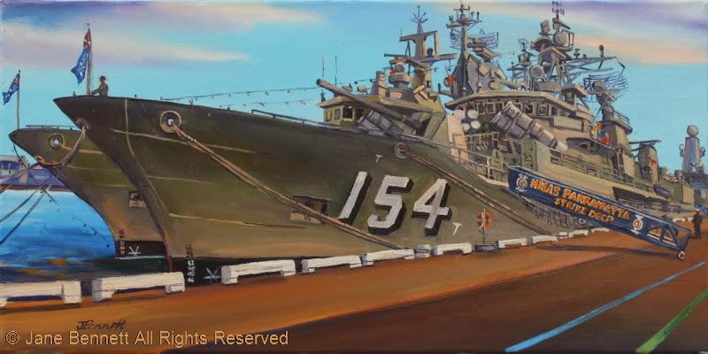 plein air oil painting by artist Jane Bennett of HMAS Perth and HMAS Parramatta at Barangaroo during International Fleet Review