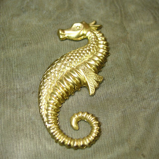 raw brass seahorse component