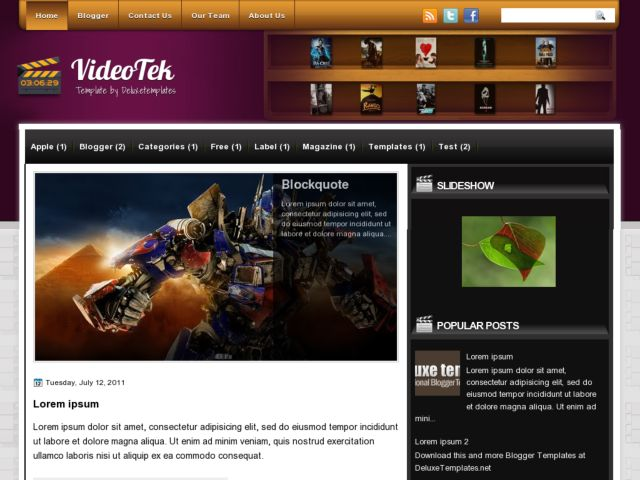 VideoTek Blogger Template