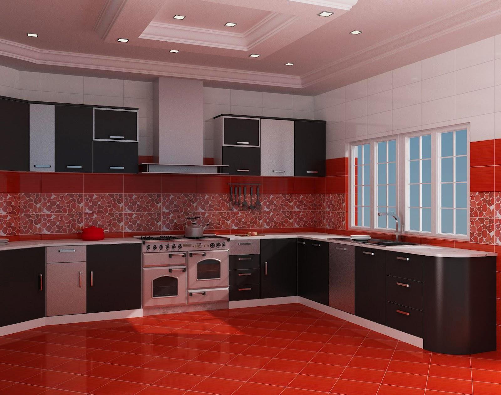 WASIM RIAZ Kitchen In Red Black