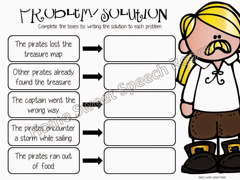 Worksheet Problem And Solution Worksheets arrrr pirates a speech and language unit description web pages 55 56 includes two describing graphic organizers one male female