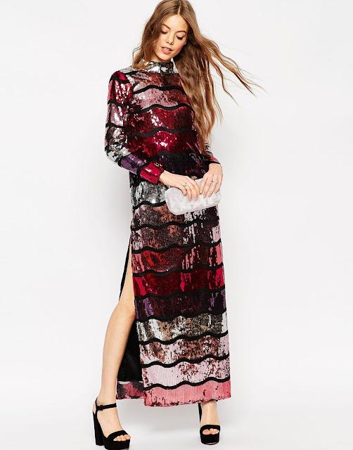 asos sequin maxi dress, long sleeve sequin maxi dress, sequin stripe maxi dress,