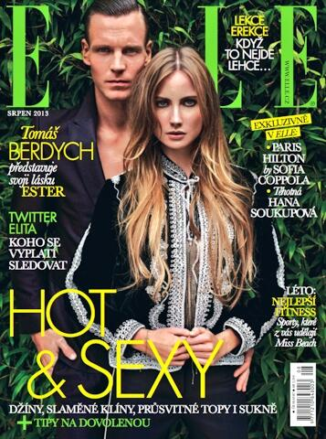 Tomas Berdych And Ester Satorova On The Cover Of Elle Magazine