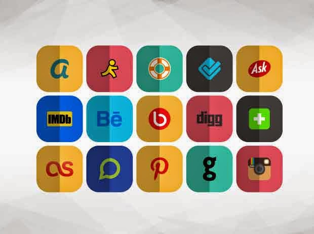 76 Adet Katlanmış Sosyal Medya ikonları