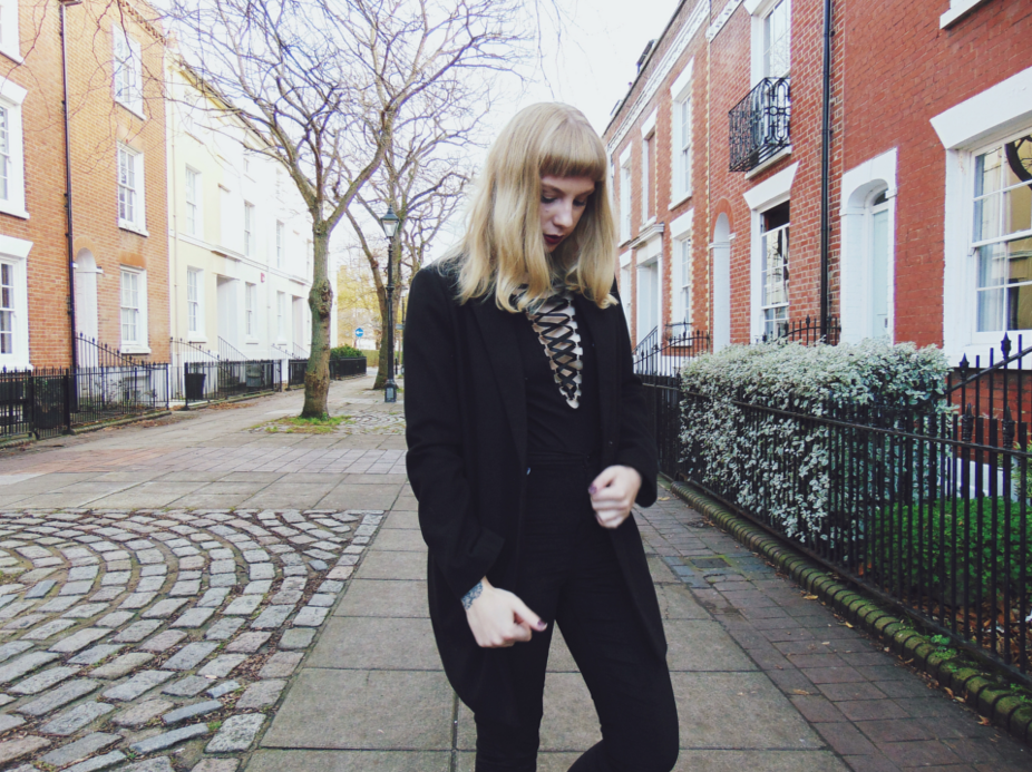 primark blanket scarf, check blanket scarf, primark tailored coat, black duster tailored coat, lace up bodysuit, lace up top, velvet joni jeans, autumn 2015 outfit stle inspiration, winter ootn, ootd