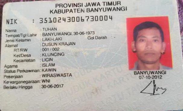 FOTO KTP ORANG BERNAMA TUHAN DI BANYUWANGI