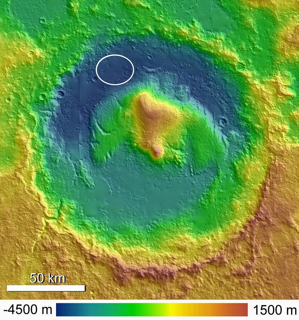 Cráter Gale, donde se encontró la muestra orgánica de Marte.