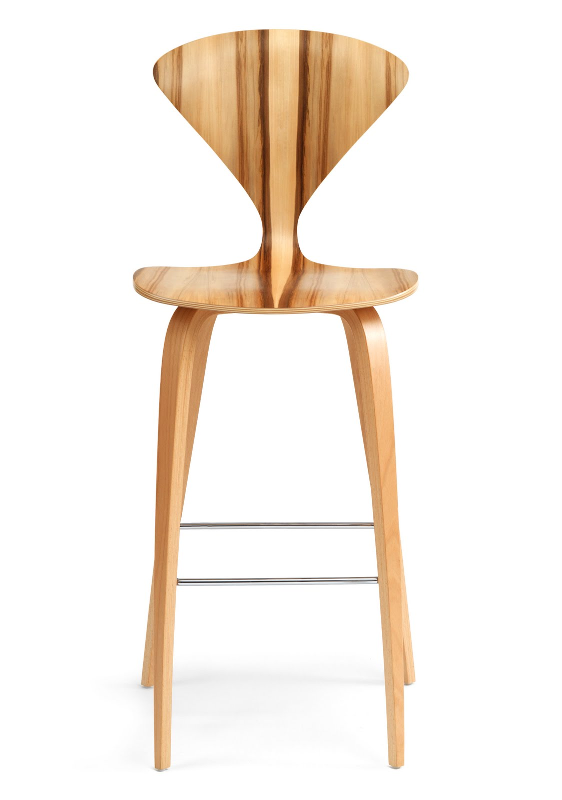 Cherner Red Gum Wood Base Modern Bar Or Counter Stool Height