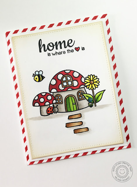 Sunny Studio: Home Is Where The Heart Is Mushroom House Card by Melissa Bowden (using Backyard Bugs & Happy Home stamps)