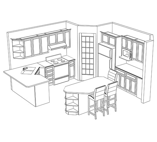Kitchen trends kitchen cabinets plans for Kitchen cabinets layout