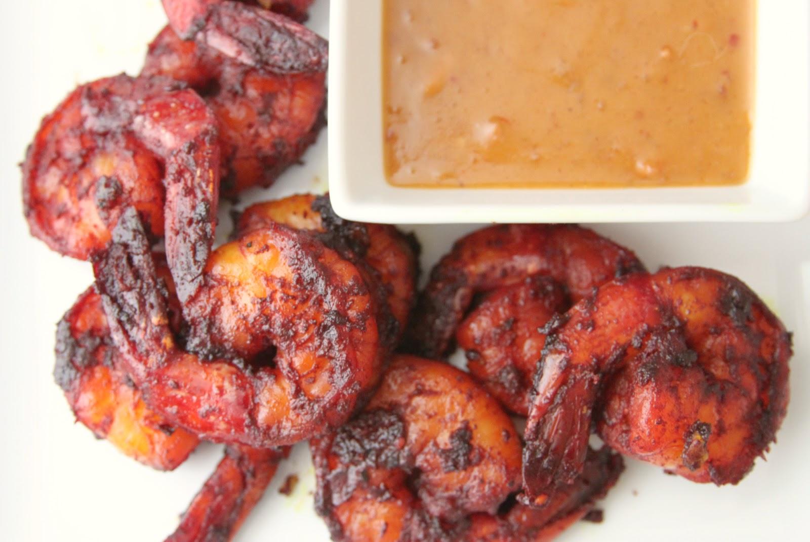gingersnaps: blackened shrimp satay with thai peanut sauce