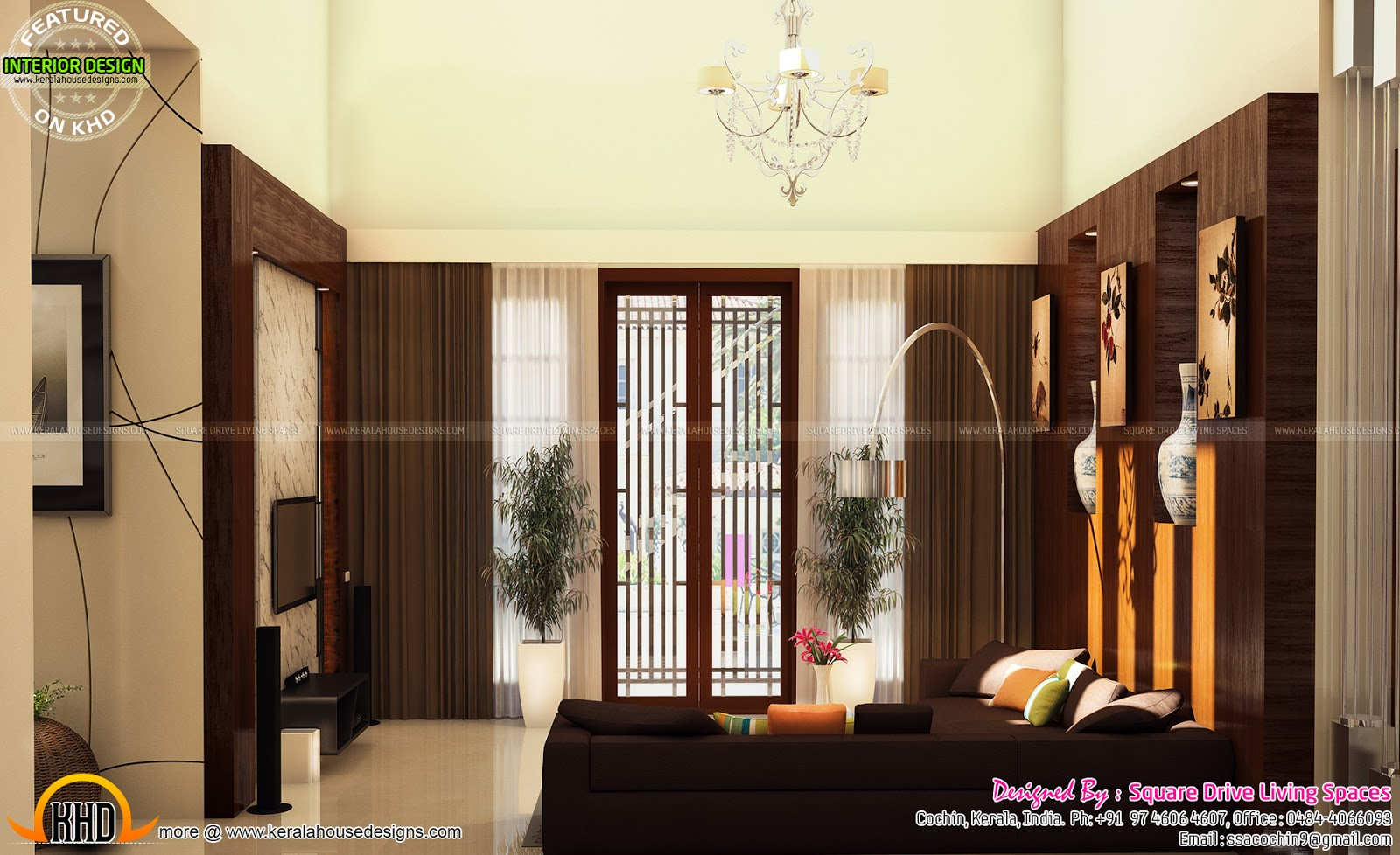 Interior designs of master bedroom living kitchen and for Kerala house living room interior design