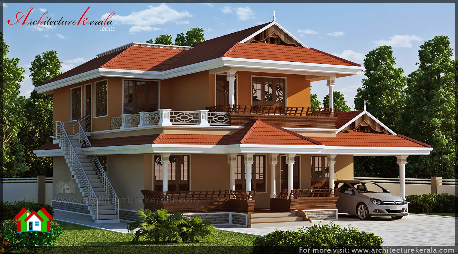 Kerala house with 3 bedroom and office space for Traditional house plans in kerala