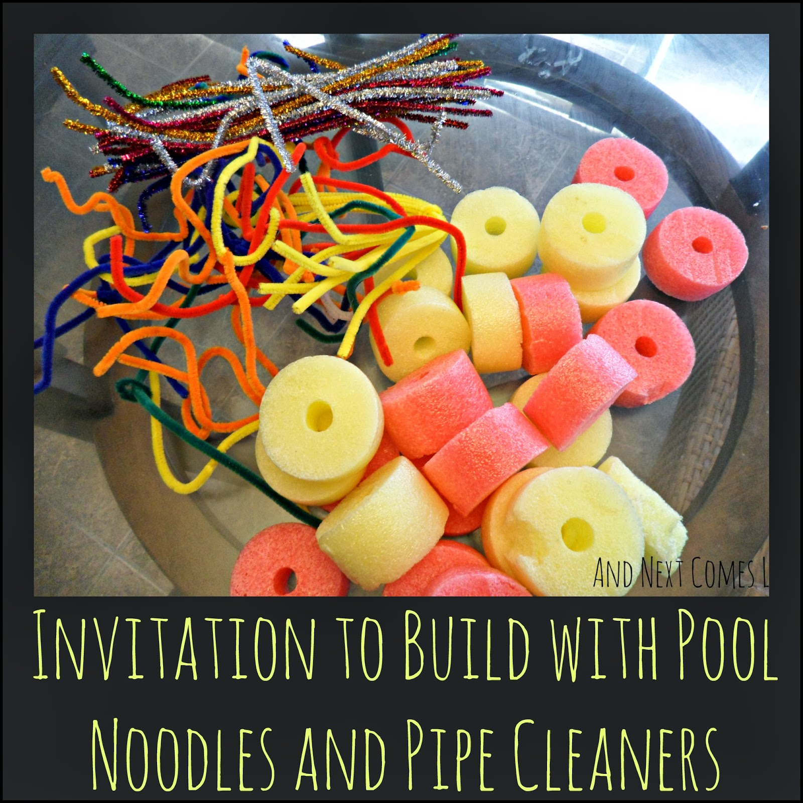 Simple engineering STEM challenge, busy bag, and fine motor activity for kids using pool noodles and pipe cleaners using pool noodles and pipe cleaners from And Next Comes L