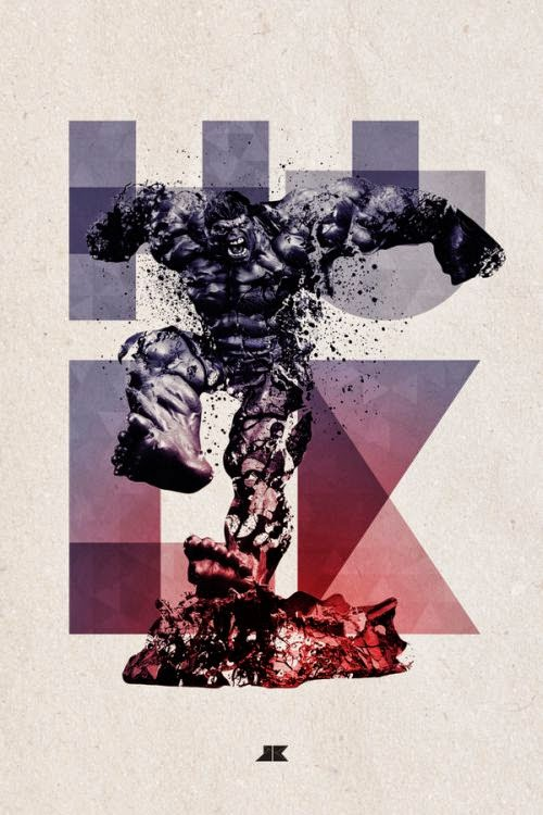 Josip Kelava typographic illustrations super heroes villains comics games movies The Incredible Hulk
