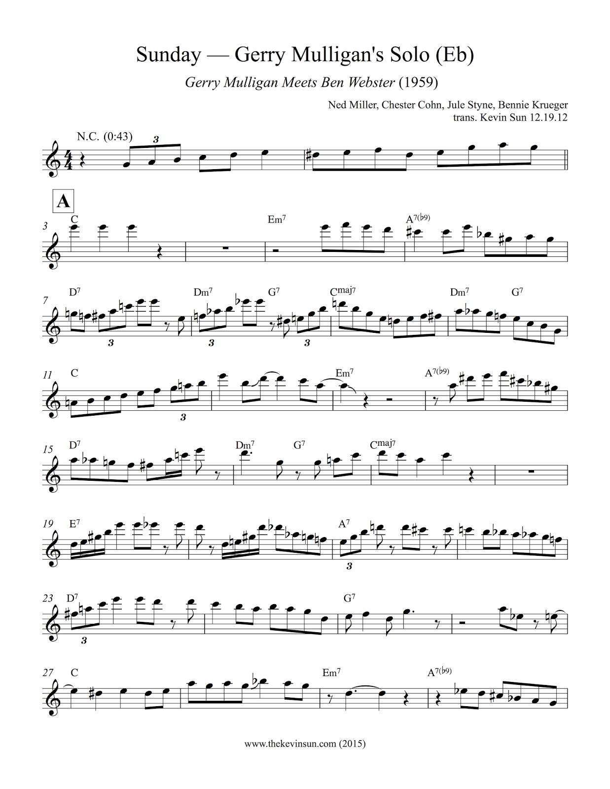 "Gerry Mulligan Solo Transcription ""Sunday"" - 1"
