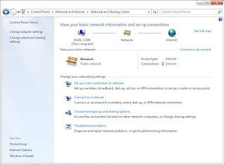 Klik link Network and Internet, maka akan ditampilkan jendela Network
