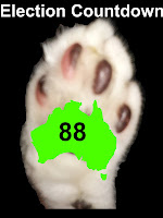 Image Mr Bumpy's paw, with outline map of Australia.  Text: Election Countdown 88.