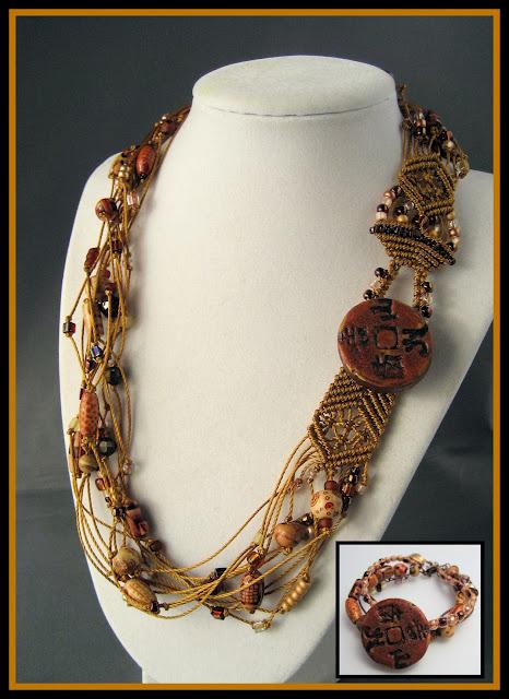 Reworked macrame necklace with Tori Sophia button.