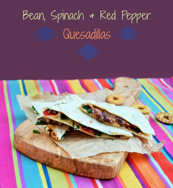 Bean, Spinach and Red Pepper Quesadillas