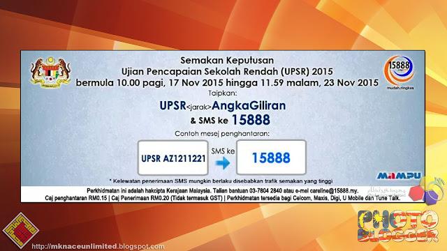 Semakan SMS Keputusan Ujian Pencapaian Sekolah Rendah (UPSR) 2015