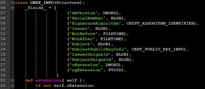 CERT_INFO structure in python