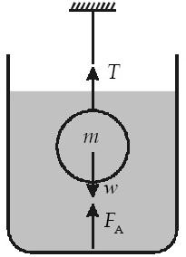 bola logam padat seberat 20 N diikatkan pada seutas kawat dan dicelupkan ke dalam minyak