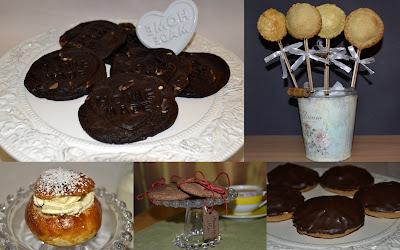 Chocolate chip cokies, Semlor, paj på pinne, Biskvier