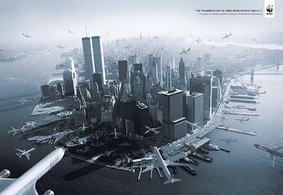 varios aviones atacando nueva york en publicidad de wwf