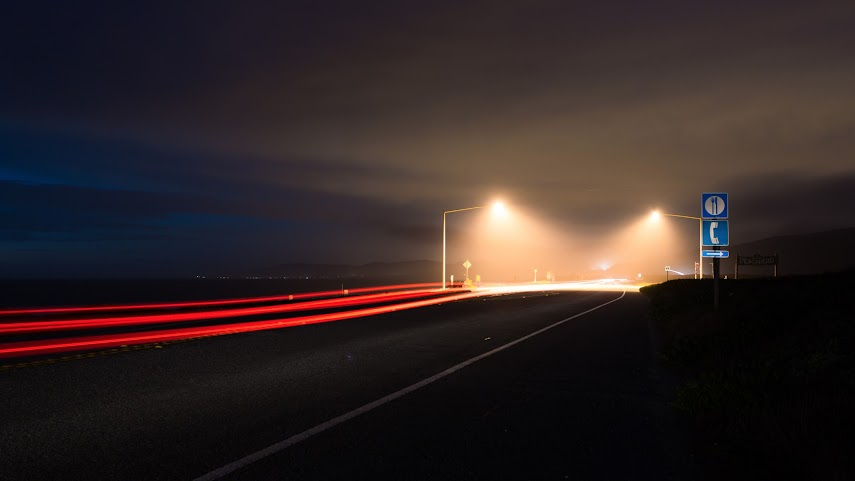 Hazy Lights, Highway 1, Pescadero, CA -- by Harpreet Grewal