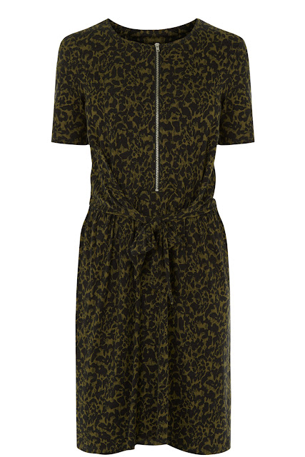 green leopard dress, warehouse leopard dress, zip leopard dress,