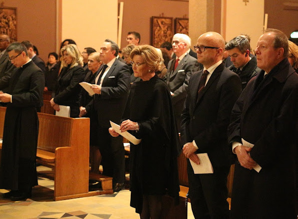 Queen Sonja of Norway attends a commemoration service for the victims of the terrorist massacre in Paris at the Roman Catholic church in Oslo