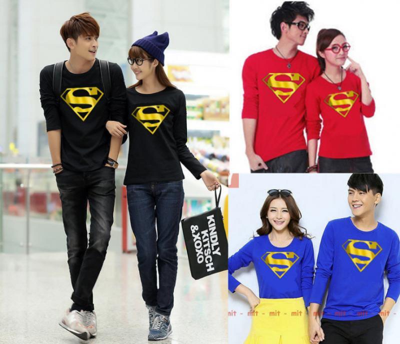 Jual Ongline Kaos Couple Superman Gold Foil LP Murah di Jakarta Bahan Cotton Combed Terkeren