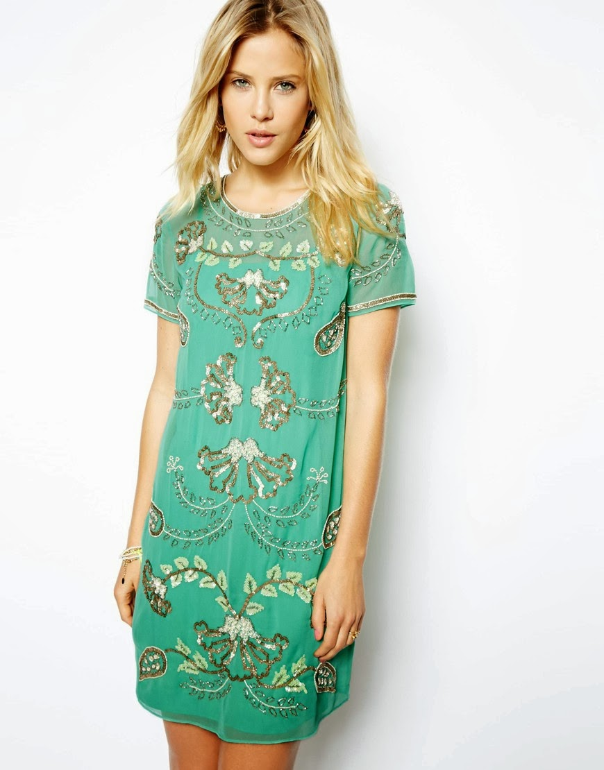 green embellished dress