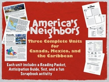 http://www.teacherspayteachers.com/Product/Americas-Neighbors-Canada-Mexico-Caribbean-complete-units-complex-text-128955