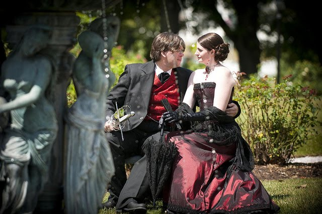 Steampunk-Neo-Victorian-Wedding-Dress-in-Burgundy-Black