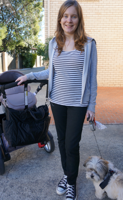 Aussie blogger 4 weeks post baby stripes maternity jeans steelcraft strider compact stroller