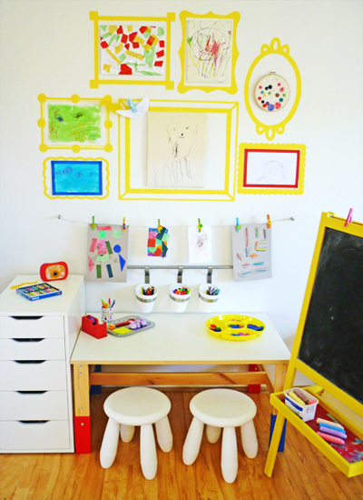 A lovely lark 10 creative ways to display children 39 s art for Creative ways to display artwork