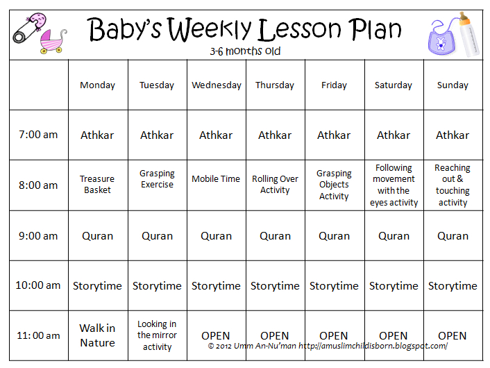 Here is a sample of what an infants weekly plan might look like.