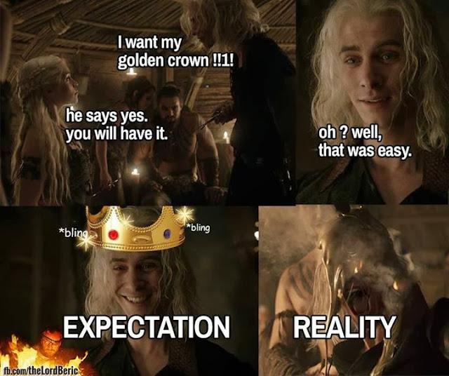 corona de oro. Expectativas vs realidad - Juego de Tronos en los siete reinos