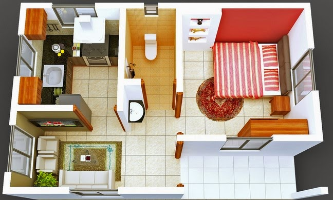 contoh gambar denah rumah minimalis 3d terbaru 1 lantai