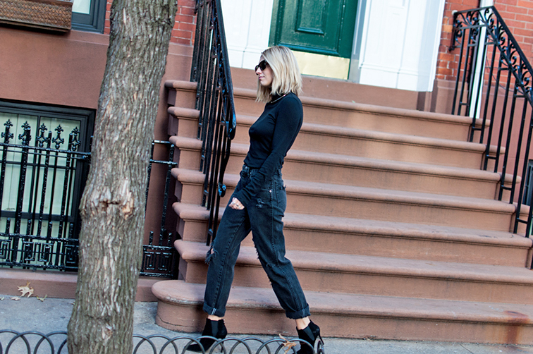 Fashion Over Reason, boyfriend mom jeans, turtleneck, Stuart Weitzman booties, West Village NYC, walk the walk