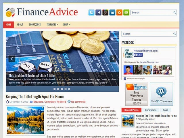 FinanceAdvice - Free Wordpress Theme