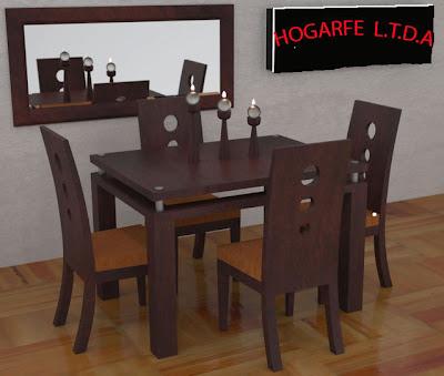 Muebles malcel.: comedores de 4 y 6 puestos en madera