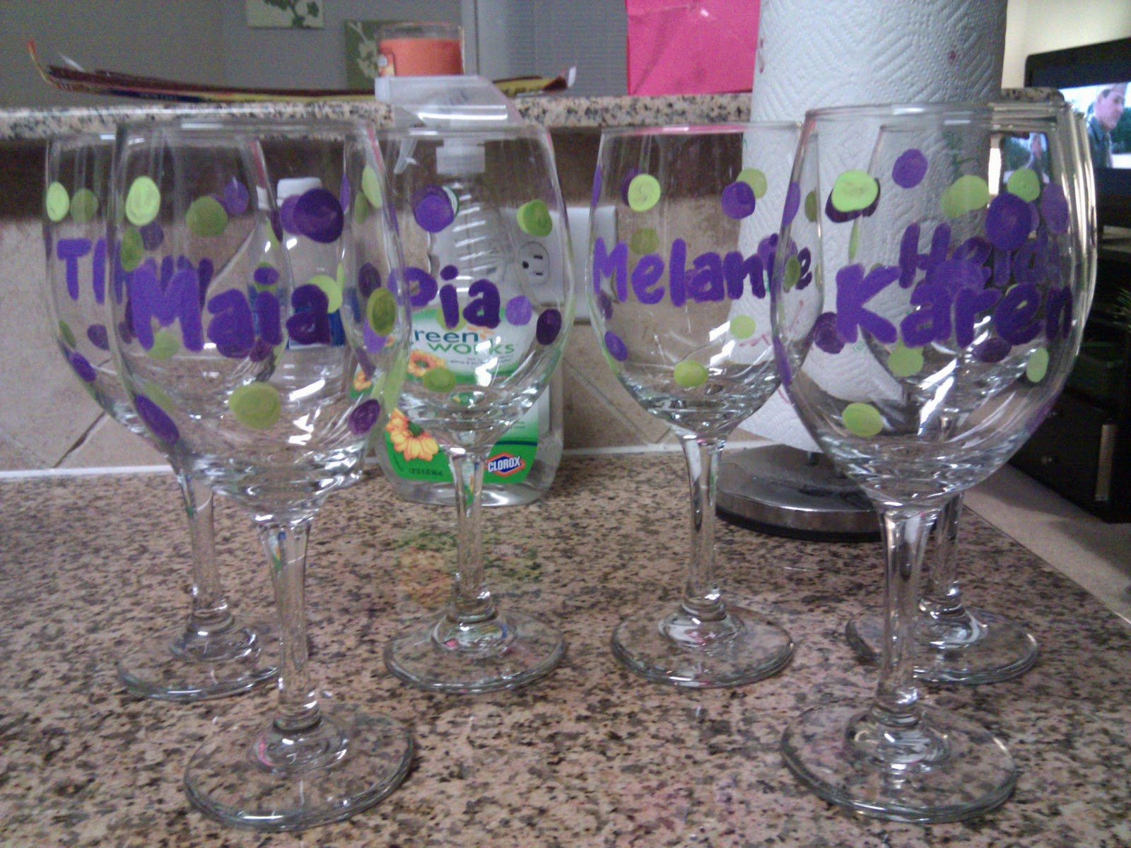 Domesticated diva toast to the good life diy for Diy painted wine glasses