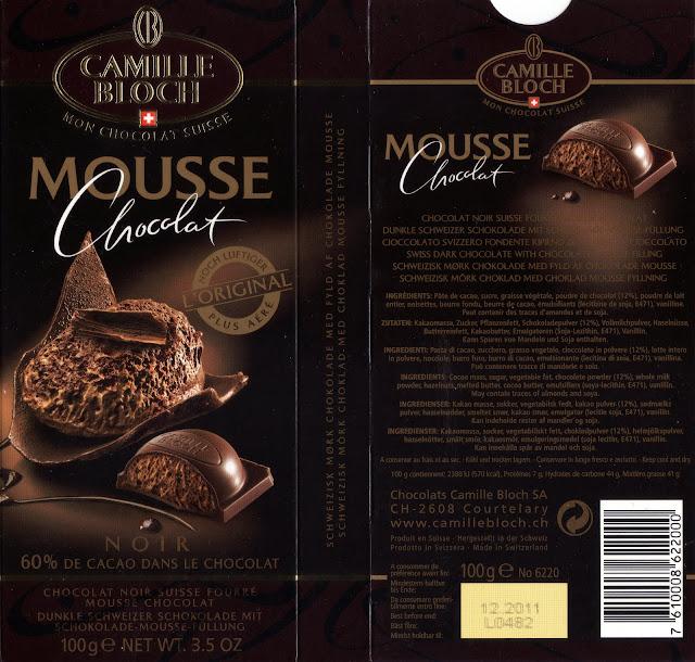 tablette de chocolat noir fourré camille bloch noir mousse chocolat